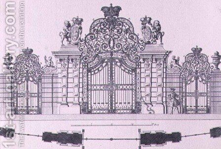 Plan and elevation of the entrance gates to Schloss Belvedere in Vienna probably designed by Johann George Oegg by (after) Kleiner, Salomon - Reproduction Oil Painting