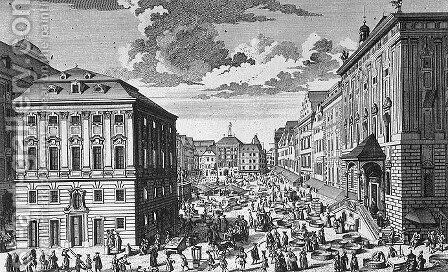View of the High Marketplace Vienna by (after) Kleiner, Salomon - Reproduction Oil Painting