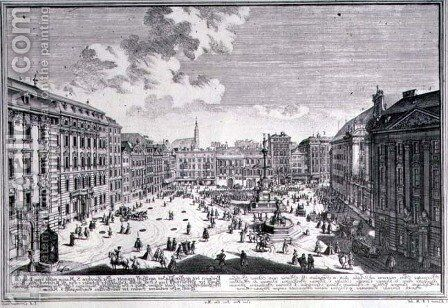 View of a square in Vienna by (after) Kleiner, Salomon - Reproduction Oil Painting