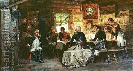 Council of War in Fili in 1812 by Aleksei Danilovich Kivshenko - Reproduction Oil Painting