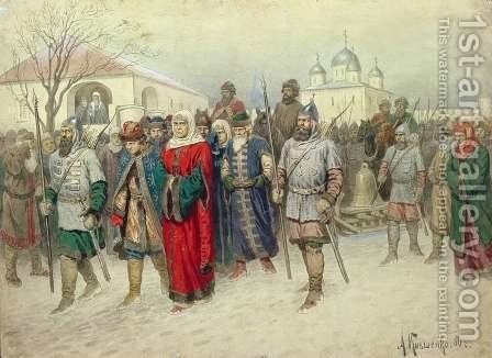 Joining of Great Novgorod Novgorodians Departing to Moscow by Aleksei Danilovich Kivshenko - Reproduction Oil Painting