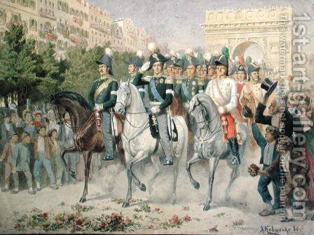 Russian and Allied forces Marching into Paris by Aleksei Danilovich Kivshenko - Reproduction Oil Painting