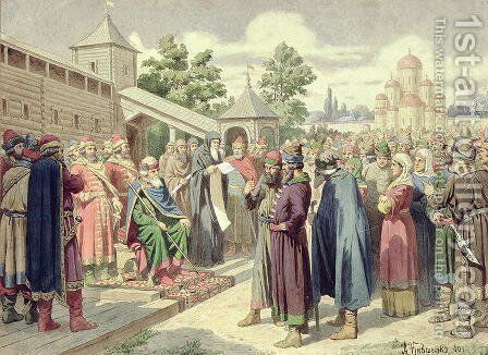 Reading of the Code in the Presence of Grand Duke Jaroslav of Novgorod by Aleksei Danilovich Kivshenko - Reproduction Oil Painting