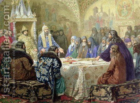 Council in 1634 The Beginning of Church Dissidence in Russia by Aleksei Danilovich Kivshenko - Reproduction Oil Painting