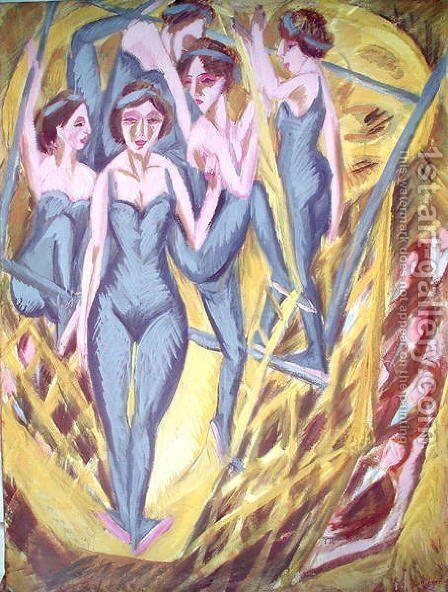 Trapeze Artists in Blue by Ernst Ludwig Kirchner - Reproduction Oil Painting