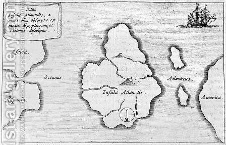 Map of Atlantis by Athanasius Kircher - Reproduction Oil Painting