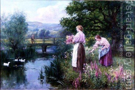 Girls Collecting Flowers by Henry John Yeend King - Reproduction Oil Painting