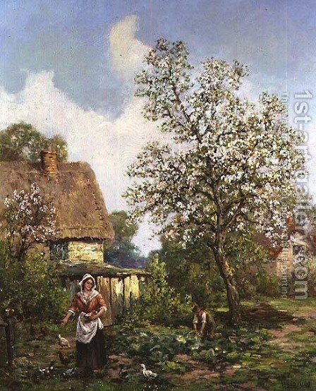 Feeding the Chickens by Henry John Yeend King - Reproduction Oil Painting