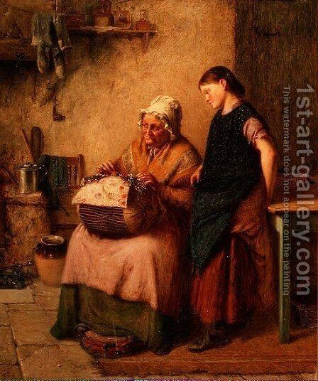 The Embroidery Lesson by Haynes King - Reproduction Oil Painting