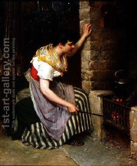 By the Hearth by Haynes King - Reproduction Oil Painting