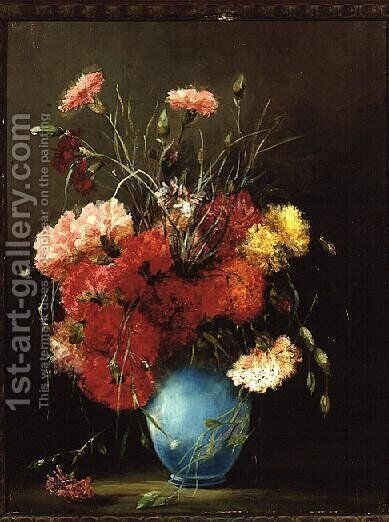 Red White and Pink Carnations by Elisabeth King - Reproduction Oil Painting