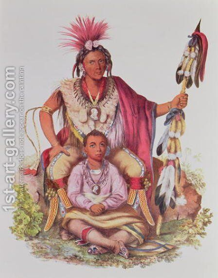 Keokuk or Watchful Fox Chief of the Sauks and Foxes and his Son Musewont or Long haired Fox by (after) King, Charles Bird - Reproduction Oil Painting
