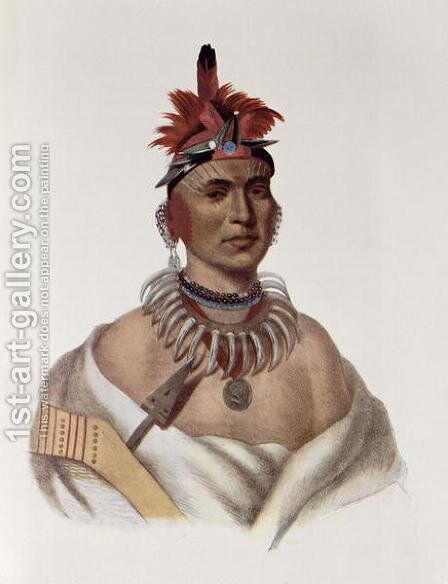 Chon Ca Pe or Big Kansas an Oto Chief by (after) King, Charles Bird - Reproduction Oil Painting