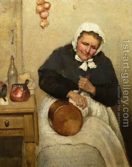 Polishing the Pan by Mary Evelina Kindon - Reproduction Oil Painting