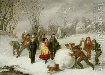 Snowballing by Cornelis Kimmel - Reproduction Oil Painting