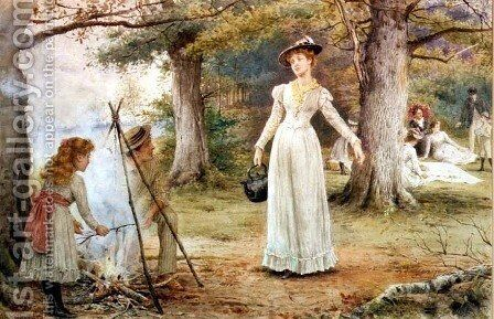 Stoking the Fire by George Goodwin Kilburne - Reproduction Oil Painting