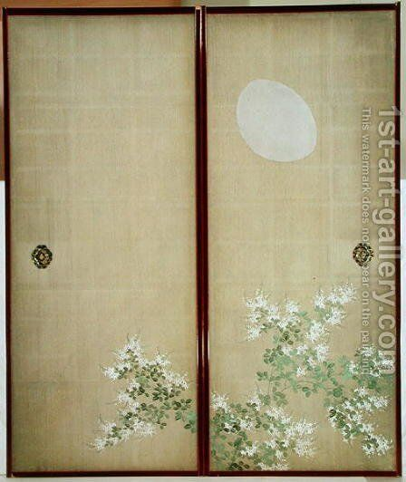 Moon with Hagi one of a pair of sliding doors by Suzuki Kiitsu - Reproduction Oil Painting