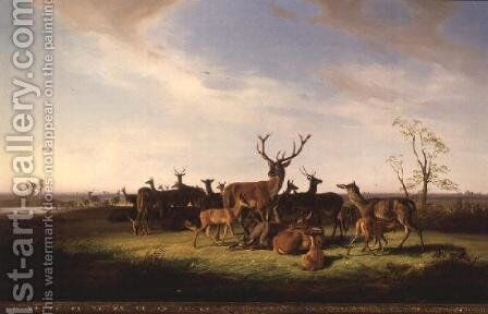 A Herd of Deer in a Sunlit Pasture by Theodor Julius Kiellerup - Reproduction Oil Painting