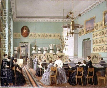 Interior of the Womens Department of the St Petersburg Drawing School by Ekaterina Nikolaevna Khilova - Reproduction Oil Painting