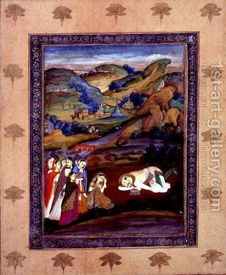 The death of Farhad on Mount Behistan by Mir Kalan Khan - Reproduction Oil Painting
