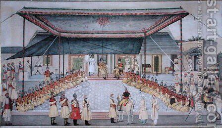 Colonel James Skinner holding a Regimental Durbar by Gulam Ali Khan - Reproduction Oil Painting