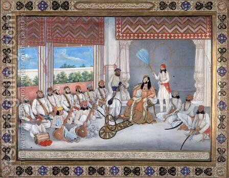 Muhammad Abd al Rahman in his court by Gulam Ali Khan - Reproduction Oil Painting