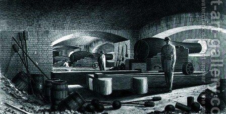 Fort Sumter Interior View of Three Gun Battery by (after) Key, John Ross - Reproduction Oil Painting