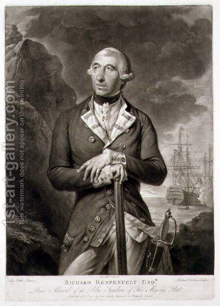 Portrait of Richard Kempenfelt 1718-82 Rear Admiral of the Blue by (after) Kettle, Tilly - Reproduction Oil Painting