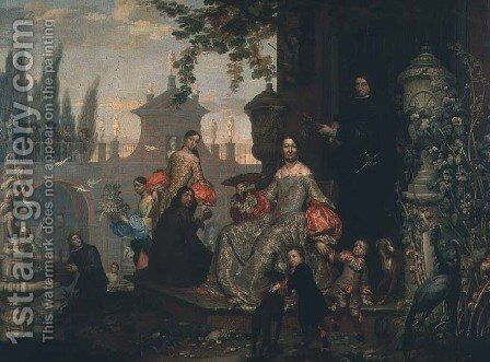 Portrait of a Family in a Garden by Jan van, the Younger Kessel - Reproduction Oil Painting