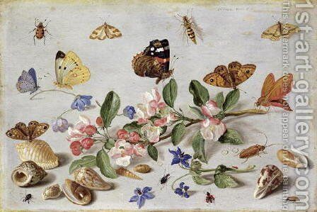 Insects 2 by Jan van Kessel - Reproduction Oil Painting