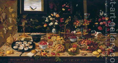 Table Covered with Vases of Flowers Baskets and Plates of Fruit and Small Animals by Jan van Kessel - Reproduction Oil Painting