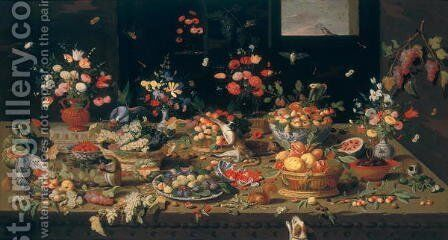 Still Life of Flowers Fruit and Animals by Jan van Kessel - Reproduction Oil Painting