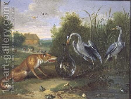 The Heron and the Fox by Jan van Kessel - Reproduction Oil Painting