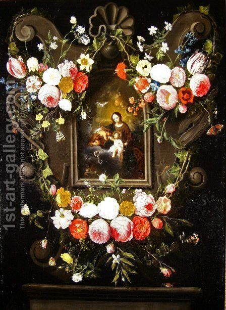 Mary Christ and St John by Jan van Kessel - Reproduction Oil Painting