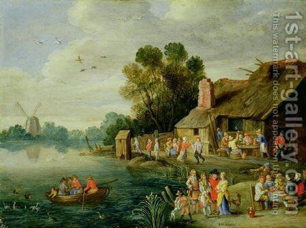 River Landscape with Gentry at a Village Inn by Jan van Kessel - Reproduction Oil Painting