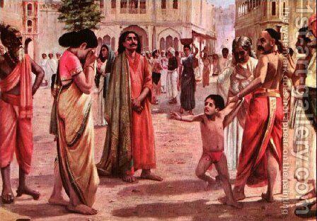Harischandra in Distress by Raja Ravi Varma - Reproduction Oil Painting