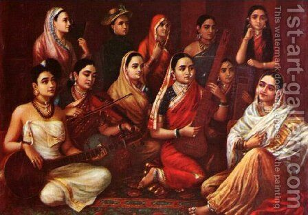 Galaxy of Musicians by Raja Ravi Varma - Reproduction Oil Painting
