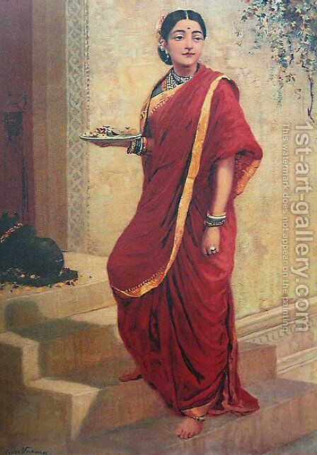 Lady Going for Pooja by Raja Ravi Varma - Reproduction Oil Painting