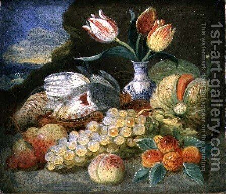 Still Life with Fruit and Parrot Tulips in a Vase by Jan Thomasz. van Kessel - Reproduction Oil Painting