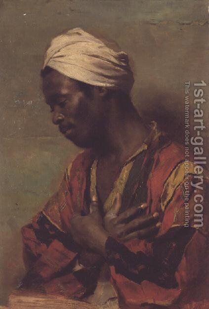 An Arab in Meditation by Carl Ludwig Ferdinand Kerstan - Reproduction Oil Painting