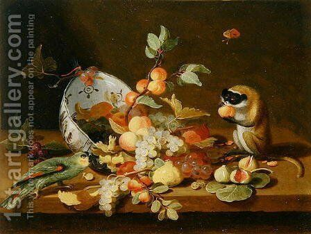 Grapes and Peaches Spilling from an Overturned Delft Bowl by (attr. to) Kessel, Jan van - Reproduction Oil Painting