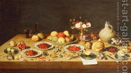 Still Life with Fruit and Flowers on a Table by (attr. to) Kessel, Jan van - Reproduction Oil Painting