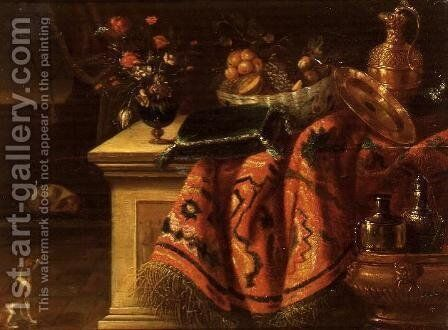 A still life with a vase of flowers fruit in a bowl a silver gilt ewer and plate and a cushion by (attr. to) Kessel, Jan van - Reproduction Oil Painting