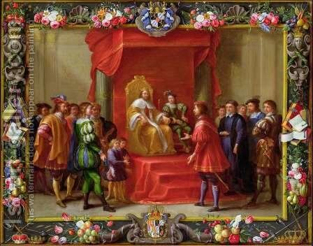 Peter IV King of Aragon being visited by Guillaume Raymond Moncada by (attr. to) Kessel, Jan van - Reproduction Oil Painting