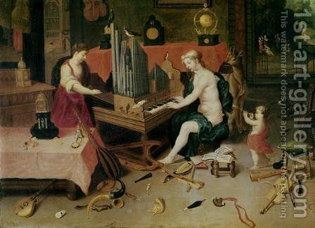 Allegory of Hearing detail of an organist by (attr. to) Kessel, Jan van - Reproduction Oil Painting