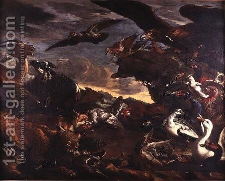 The Battle of the Birds and the Beasts by Jacob van der (Giacomo da Castello) Kerckhoven - Reproduction Oil Painting