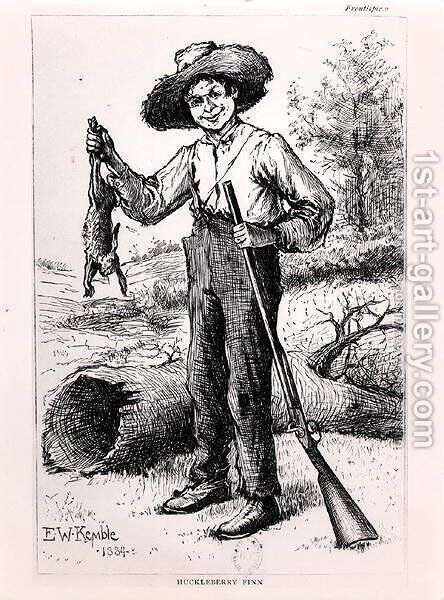 Frontispiece to The Adventures of Huckleberry Finn by Edward Windsor Kemble - Reproduction Oil Painting