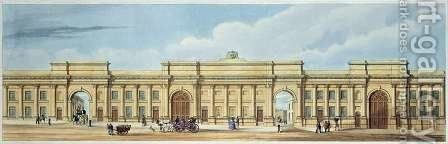 New Grand Entrance to the Liverpool and Manchester Railway Lime Street Liverpool by (after) Kelper, S. - Reproduction Oil Painting