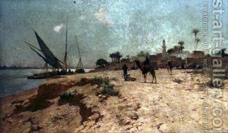 A Nile Village by Robert George Talbot Kelly - Reproduction Oil Painting