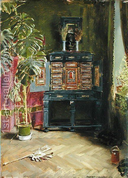 The Green Room by Albert von Keller - Reproduction Oil Painting